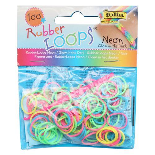 Резинки для браслетов 'Неоновые / светящиеся в темноте' Rubber Loops (100 шт., 12 застежек, 1 крючок) (339199) Folia