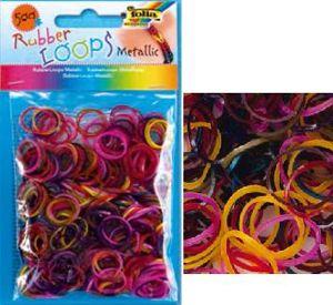 Резинки для браслетов 'Металлические цвета' Rubber Loops (500 шт., 25 застежек, 1 крючок) (339559) Folia