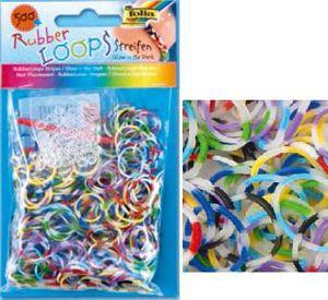 Резинки для браслетов 'В полоску / светящиеся в темноте' Rubber Loops (500 шт., 25 застежек, 1 крючок) (339569) Folia