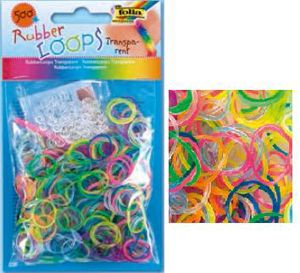 Резинки для браслетов 'Прозрачные' Rubber Loops (500 шт., 25 застежек, 1 крючок) (339579) Folia