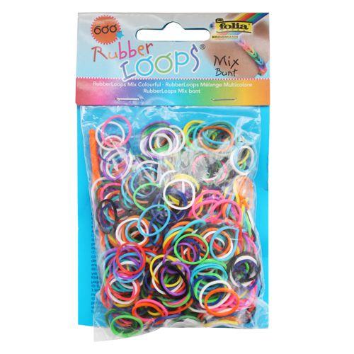Резинки для браслетов 'Цветной микс' Rubber Loops (600 шт., 25 застежек, 1 крючок) (339609) Folia