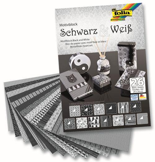 46749 Набор дизайнерского картона 'Черный / белый', 13 л.*270 г/м², 13 л.*80 г/м², 24*34 см, Folia