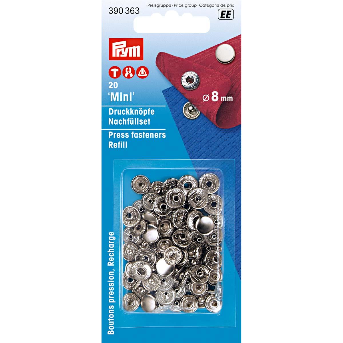 390363 Кнопки MINI (латунь) к 390360, серебристый цв. 8 мм Prym. 20шт. Prym