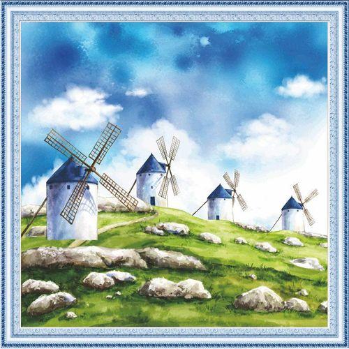 51020 Картина со стразами 5D 'Ветряные мельницы', 55x55см