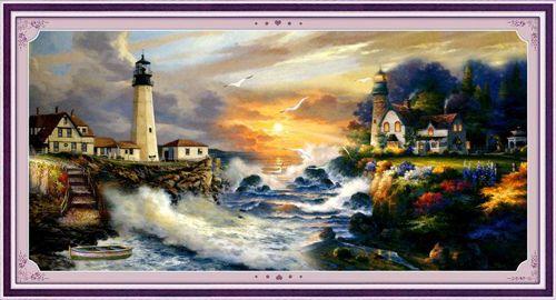 51171 Картина со стразами 5D 'Маяк', 95x55см