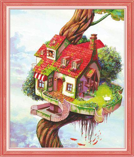 51248 Картина со стразами 5D 'Дом на дереве', 55x63см