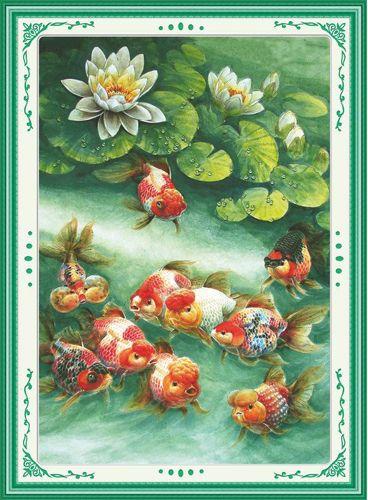 51249 Картина со стразами 5D 'В пруду с лилиями', 63x85см