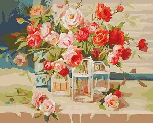 G387 Набор для раскрашивания по номерам 'Нежные розы', 40x50см
