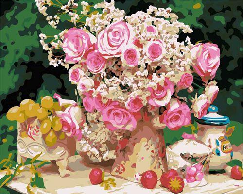 G388 Набор для раскрашивания по номерам 'Нежные розы', 40x50см