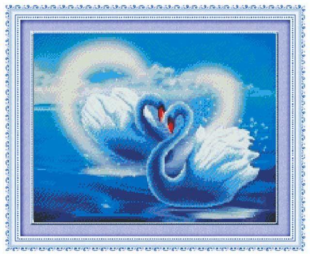 1699 Мозаика Cristal 'Влюбленные лебеди', 45*36 см