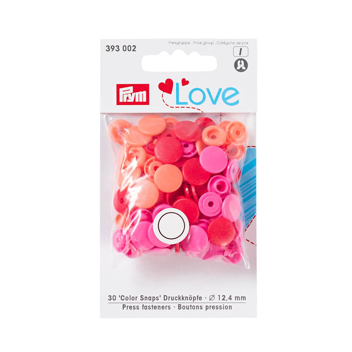 393002 Kнопки Color Snaps PrymLove, красный/розовый цв., 12мм, 30шт Prym