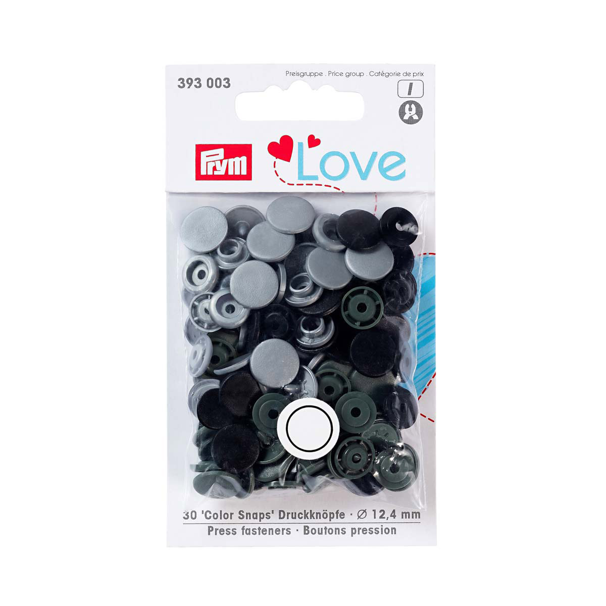 393003 Kнопки Color Snaps PrymLove, серый/черный цв., 12мм, 30шт Prym