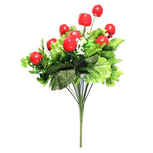 Декоративный элемент 'Ветка с яблоками' (35 мм), 36 см (красный) фото