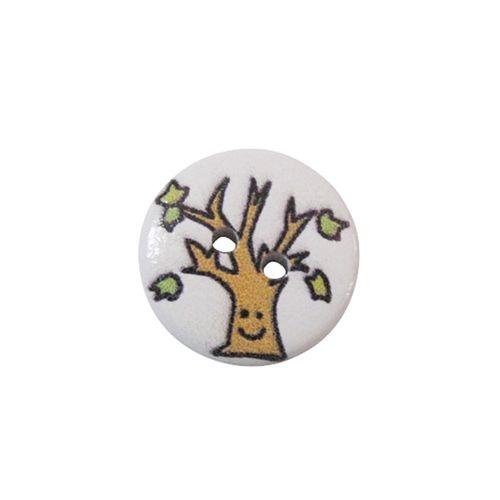 Пуговица деревянная, Деревья и листья 15мм