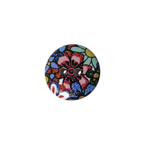 Пуговица деревянная, Цветы 18мм