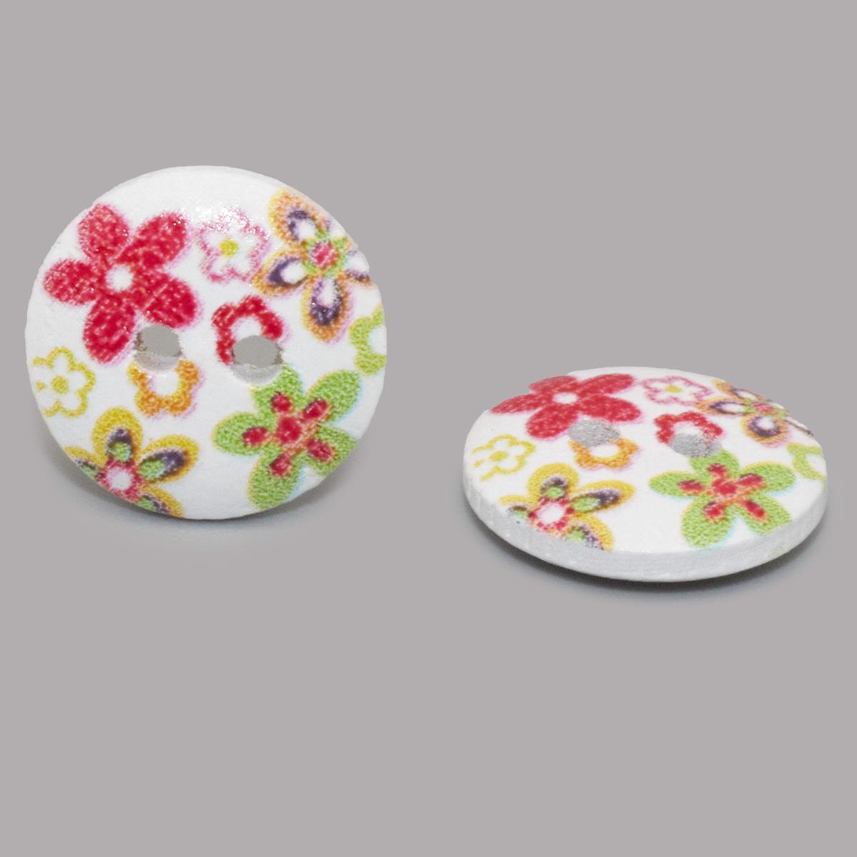 Пуговица деревянная, Цветы 15мм