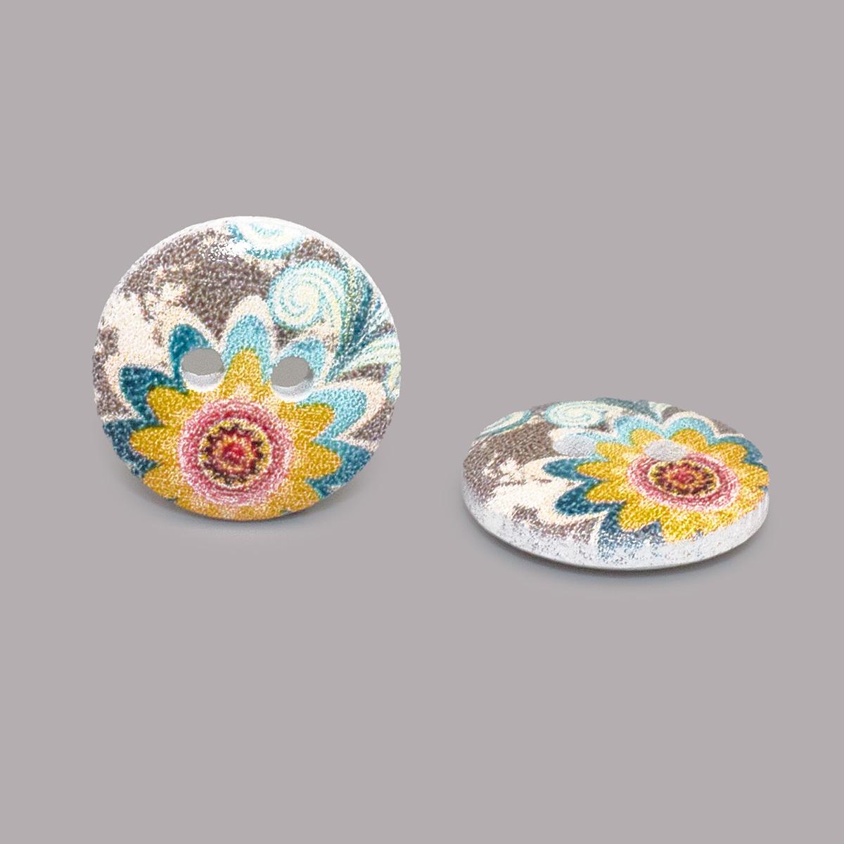 Пуговица деревянная, Цветы 15мм (цвет 172) фото