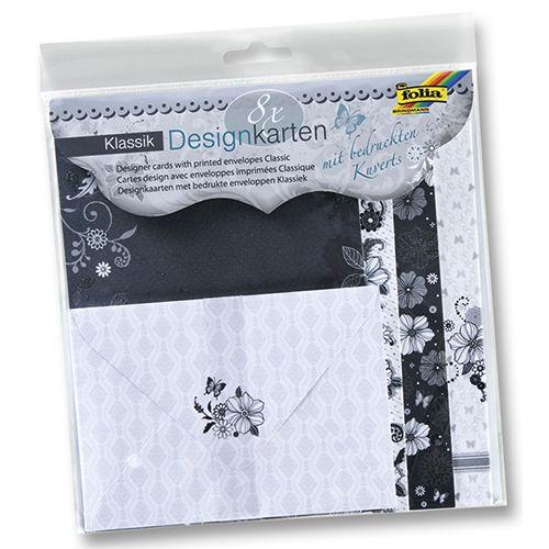 11402 Заготовки для открыток с конвертами Classic, 8 заготовок и 8 конвертов, Folia