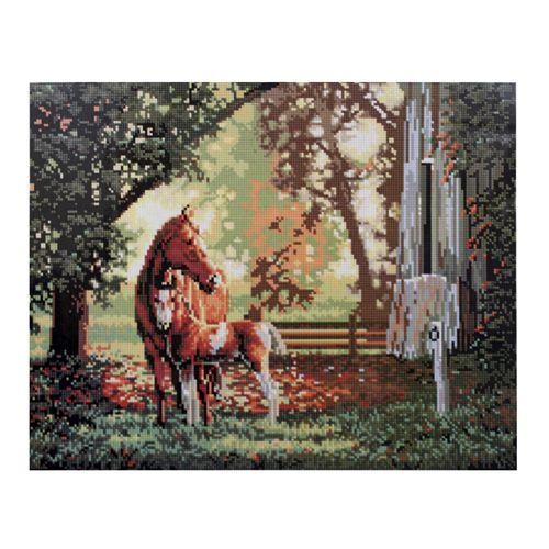 GZ024 Мозаика на деревянной основе 'Лошади', 40*50см