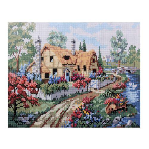 GZ023 Мозаика на деревянной основе 'Сельский дом 2', 40*50см