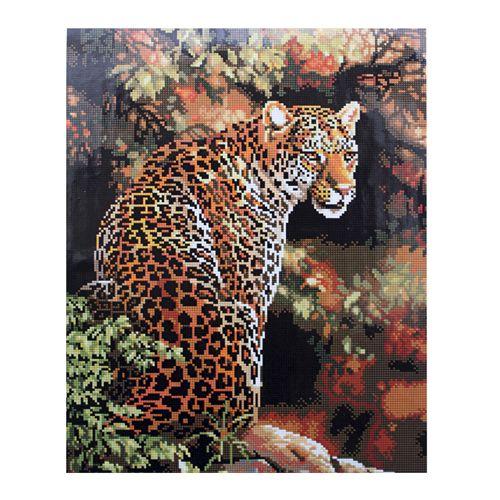 GZ007 Мозаика на деревянной основе 'Леопард', 40*50см