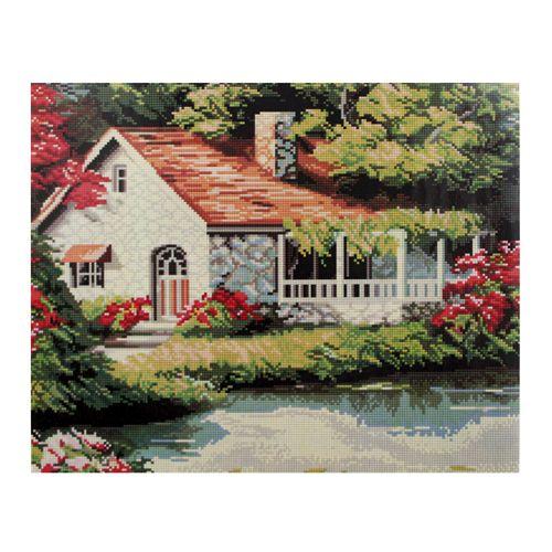 GZ015 Мозаика на деревянной основе 'Дом у реки', 40*50см