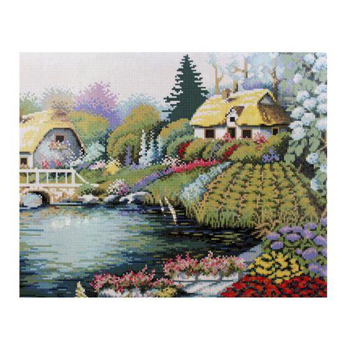 GZ016 Мозаика на деревянной основе 'Дом у озера', 40*50см