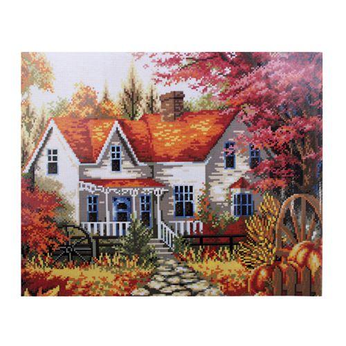 GZ017 Мозаика на деревянной основе 'Сельский дом', 40*50см