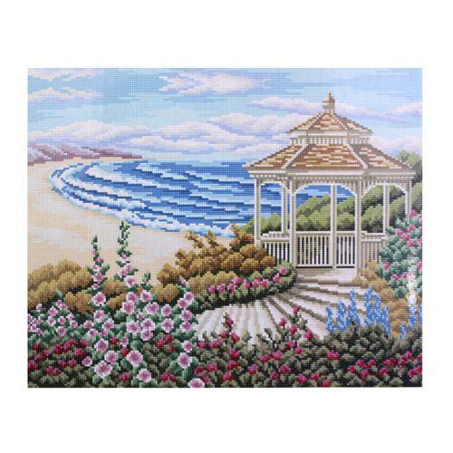 GZ018 Мозаика на деревянной основе 'Беседка у моря', 40*50см