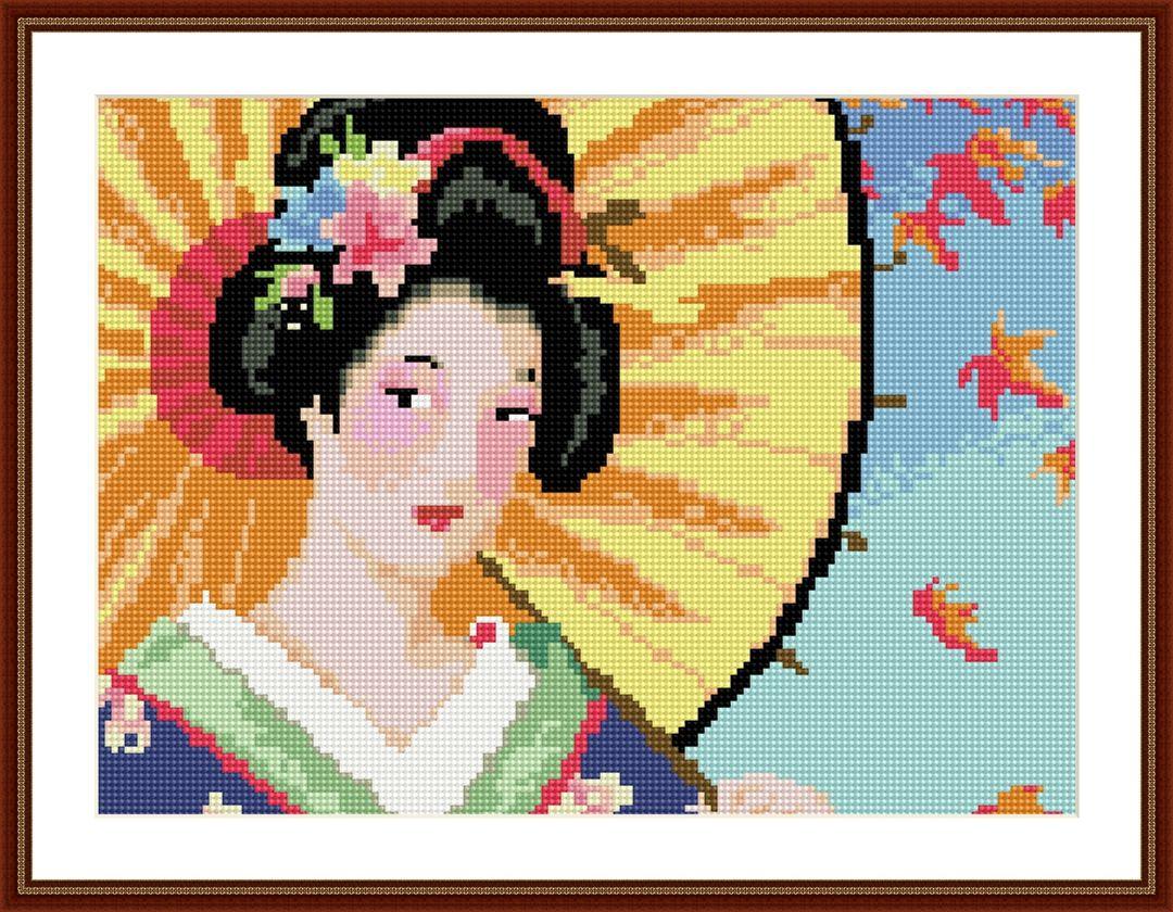EZ006 Мозаика на деревянной основе 'Японка', 30*40см