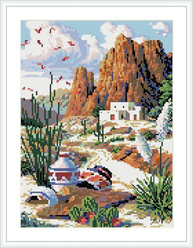 EZ007 Мозаика на деревянной основе 'Горный пейзаж', 30*40см