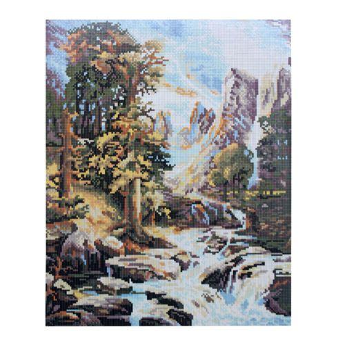 GZ299 Мозаика на деревянной основе 'Горный пейзаж', 40*50см