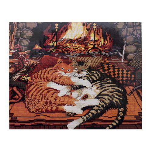 GZ308 Мозаика на деревянной основе 'У камина', 40*50см