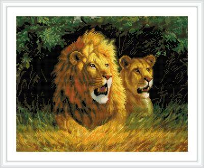 GZ233 Мозаика на деревянной основе 'Семейство львов', 40*50см