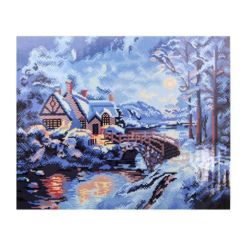 GZ301 Мозаика на деревянной основе 'Зимний ручей', 40*50см