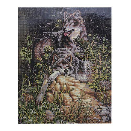 GZ307 Мозаика на деревянной основе 'Семейство волков', 40*50см