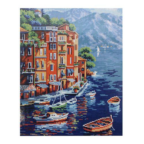 GZ225 Мозаика на деревянной основе 'Приморский городок', 40*50см
