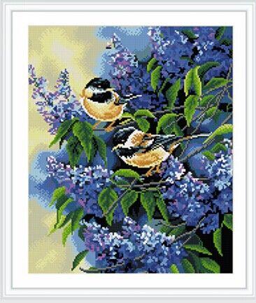 GZ248 Мозаика на деревянной основе 'Птицы и сирень', 40*50см