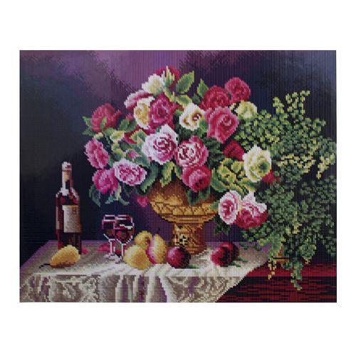 GZ435 Мозаика на деревянной основе 'Натюрморт с розами', 40*50см