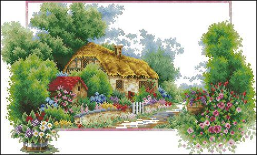 7527 Мозаика Cristal 'Домик в лесу', 65*40 см