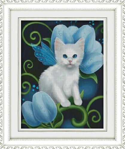 1337 Мозаика Cristal 'Белый кот', 40*50 см