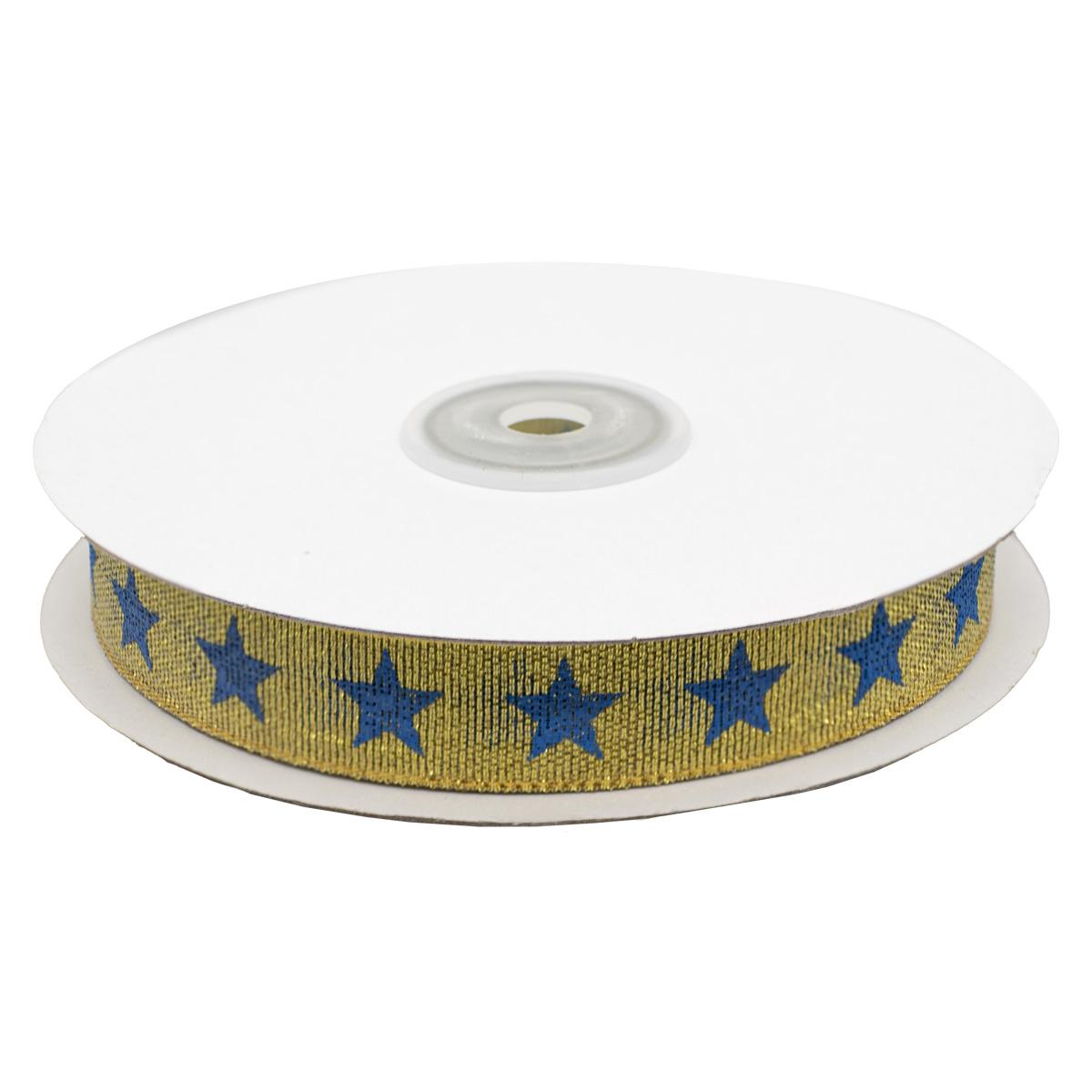 Декоративная лента 'Звезды', DM-001, 15 мм*32,9м золото/синий