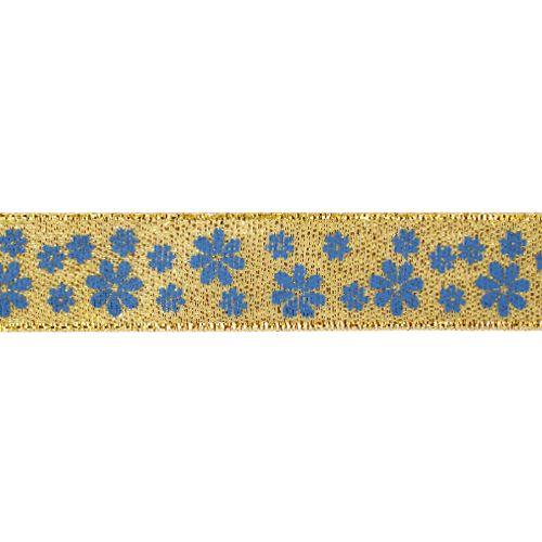 Декоративная лента 'Цветочки', DM-005, 15 мм*32,9м золото/синий