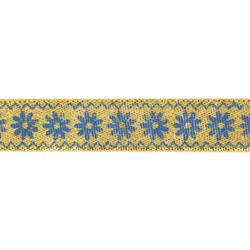 Декоративная лента'Ромашки', DM-006, 15 мм*32,9м золото/синий