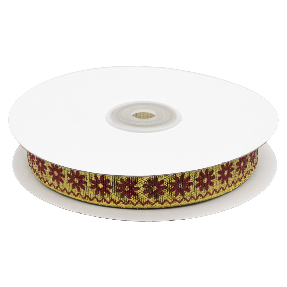 Декоративная лента'Ромашки', DM-012, 15 мм*32,9м золото/красный
