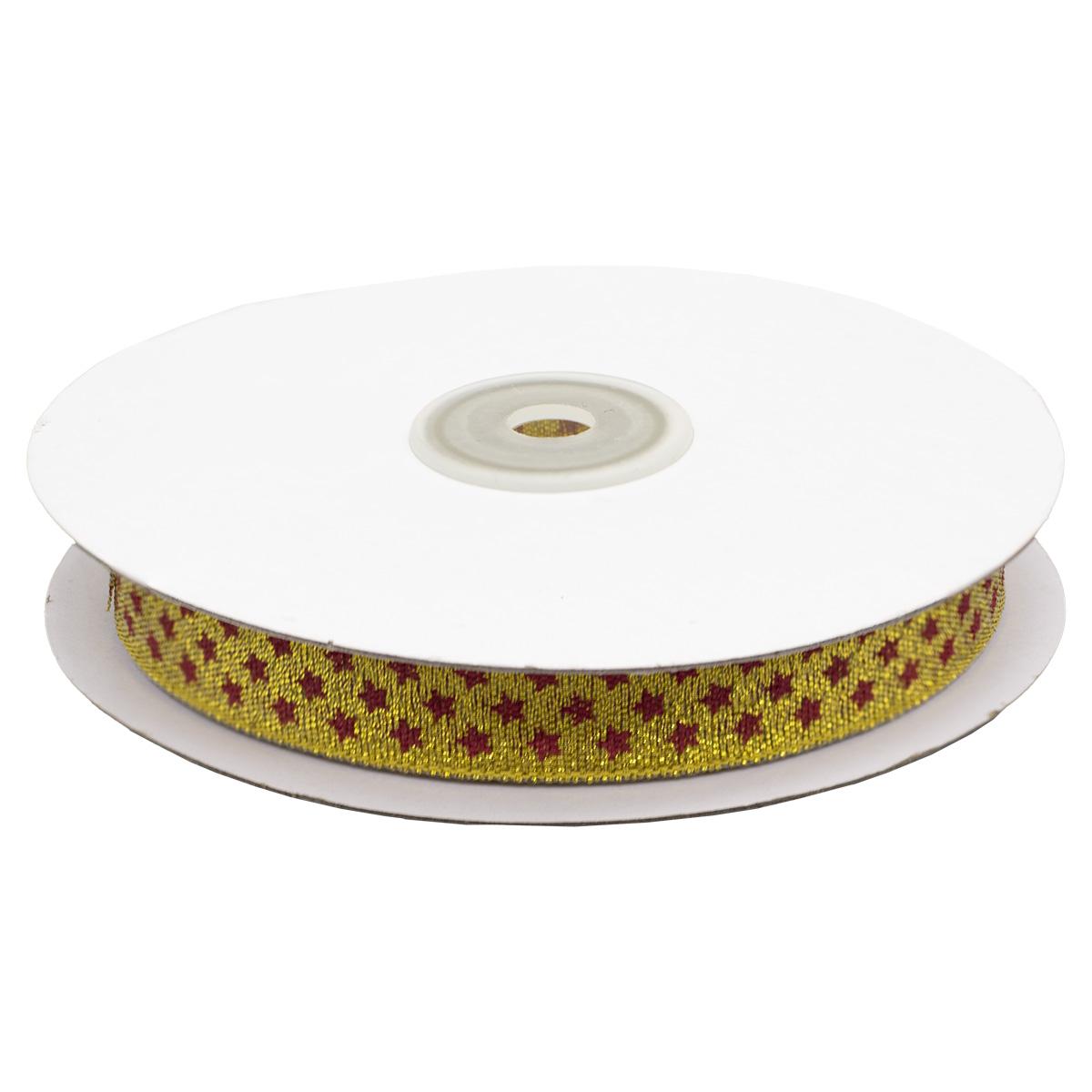 Декоративная лента 'Мелкие звездочки', DM-010,15 мм*32,9м золото/красный