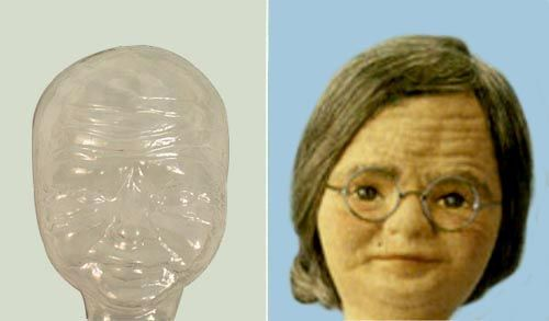00417 Пластиковая основа для лица куклы Бабушка высотой 50 см Glorex