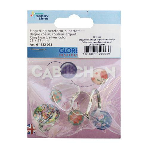 61632023 Кольцо с формой сердца Cabochon, серебристый цвет, 25x27мм Glorex