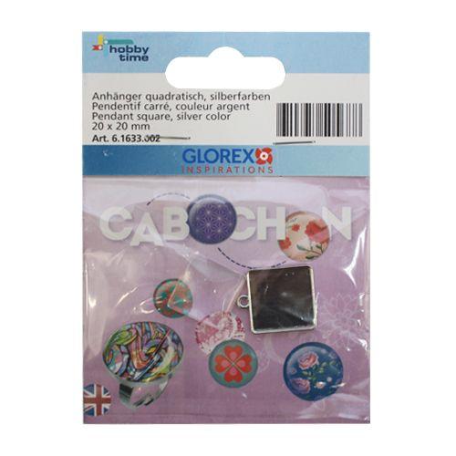 61633002 Подвеска квадратная Cabochon, серебристый цвет, 20x20мм Glorex