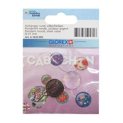 61633005 Подвеска круглая Cabochon, серебристый цвет, ?21мм Glorex